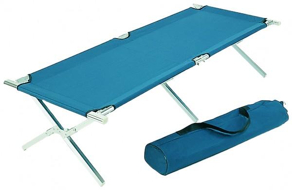 Alu Feldbett Campingbett für Zelt Farbe Blau Größe 210 x 72 x 45 cm