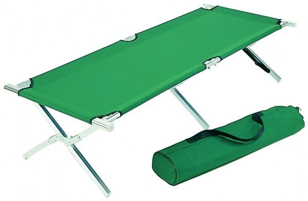 Alu Feldbett Campingbett für Zelt Farbe Grün Größe 200 x 68 x 43 cm
