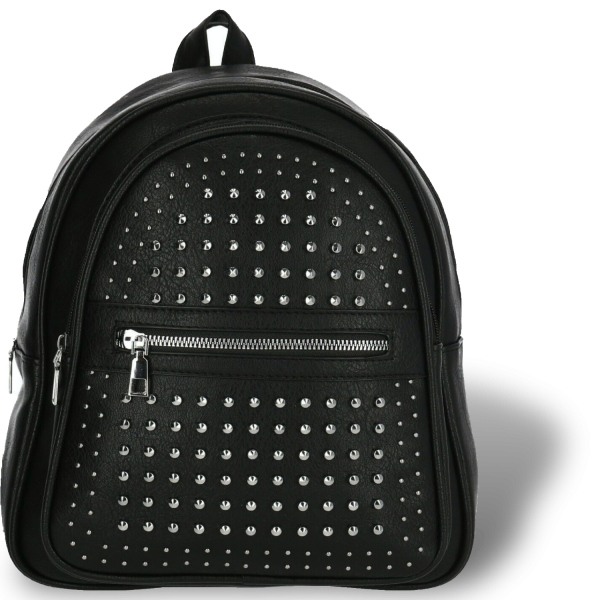 Rucksack mit Nieten Schwarz 2 Fächer mit Reißverschluss und eine Innentasche mit Reißverschluss